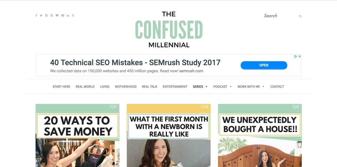 Blog to Biz Strategies | The Confused Millennial Blog Homepage Example