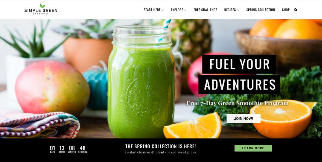 Blog to Biz Strategies | Simple Green Smoothes Blog Homepage Example