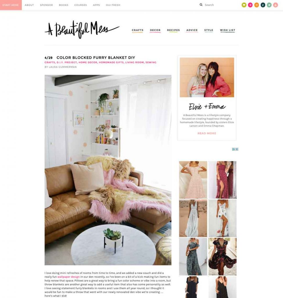 Blog to Biz Strategies | Example Of Blog Post Web Page for A Beautiful Mess