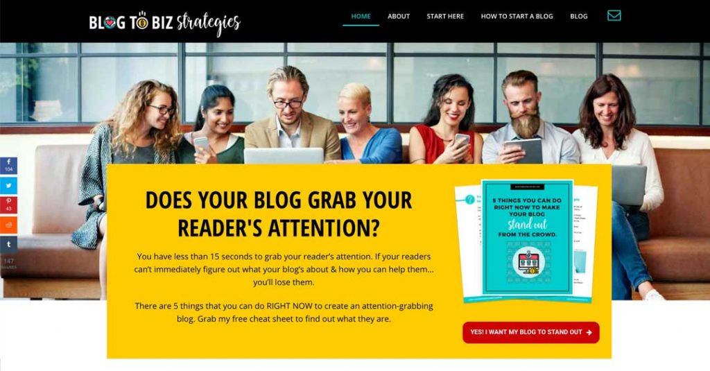 Blog to Biz Strategies | Home Page Example