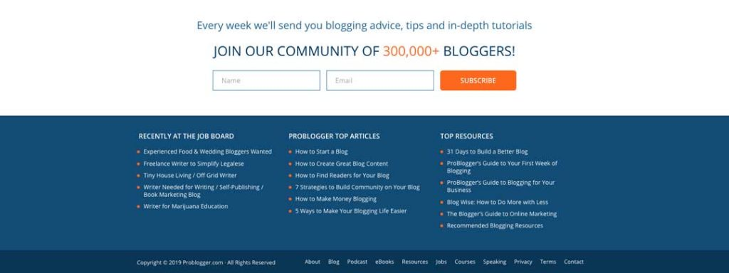 Blog to Biz Strategies | Footer Example ProBlogger