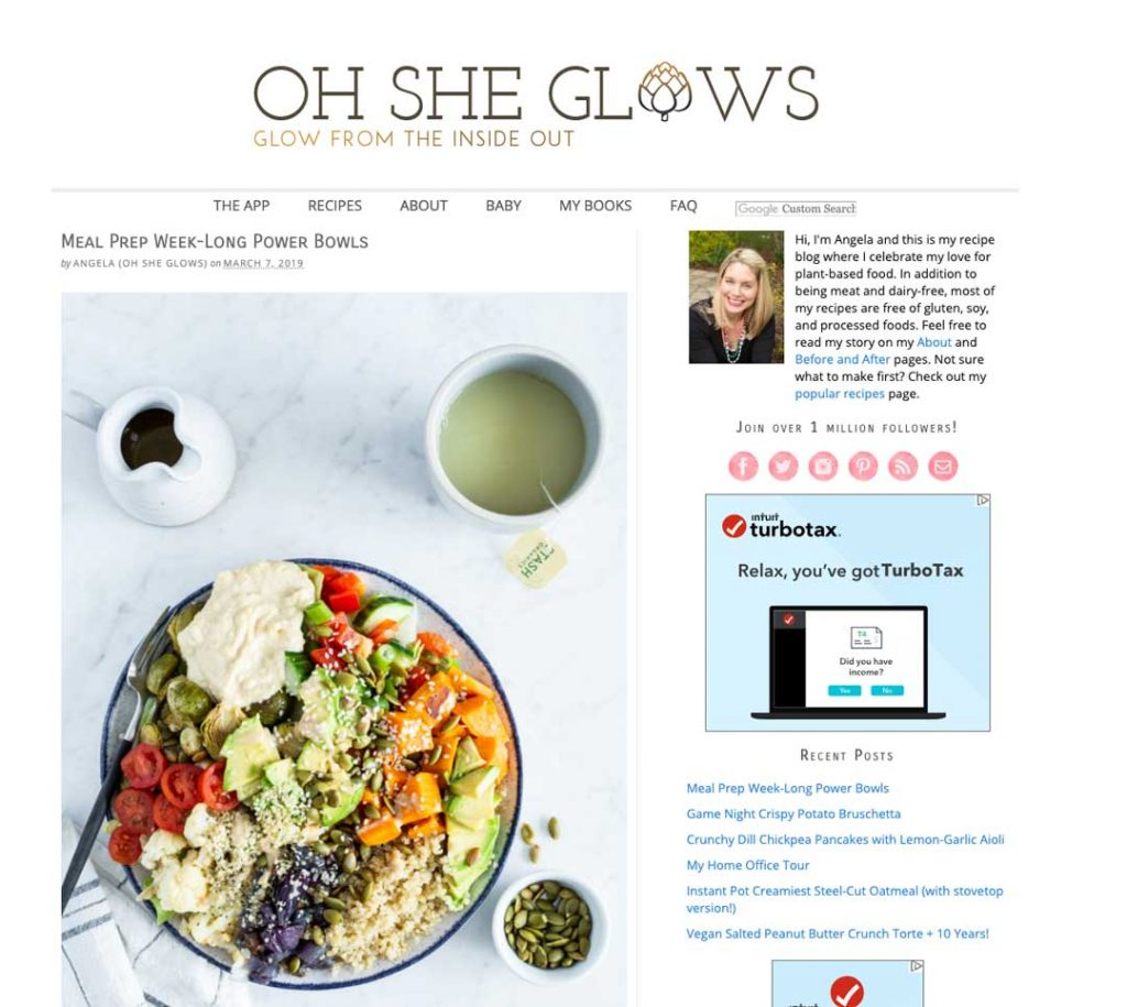 Blog to Biz Strategies | Oh She Glows Blog Example