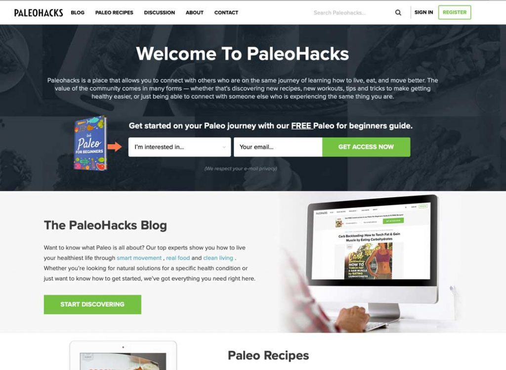 Blog to Biz Strategies | Home Page Example Paleo Hacks